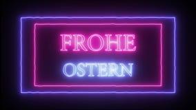 Señal de neón 'Frohe Ostern 'de la animación, Pascua feliz en alemán stock de ilustración