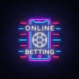 Señal de neón apostadora en línea Apuesta de los deportes Logotipo apostador en línea, símbolo de neón, bandera ligera, publicida ilustración del vector