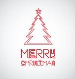 Señal de neón con el árbol de navidad Fotos de archivo libres de regalías