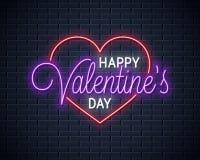 Señal de neón de día de San Valentín Letras del día felices de la tarjeta del día de San Valentín stock de ilustración