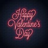 Señal de neón de día de San Valentín Letras de neón felices de día de San Valentín