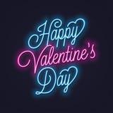 Señal de neón de día de San Valentín Tarjeta del día de San Valentín del vintage que pone letras al neón