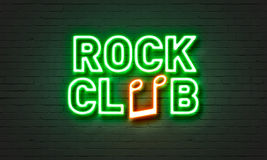 Señal de neón del club de la roca en fondo de la pared de ladrillo Fotografía de archivo libre de regalías