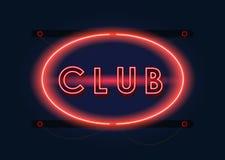Señal de neón del rojo del club nocturno libre illustration