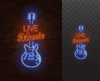 Señal de neón de la música en directo Guitarra con el subtítulo Ilustración realista del vector Foto de archivo