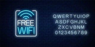 Señal de neón de la zona libre del wifi en marco del rectángulo con alfabeto Acceso libre de la conexi?n inal?mbrica en caf?, clu ilustración del vector