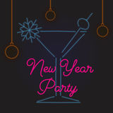 Señal de neón para una fiesta de Navidad Cartel del Año Nuevo Ilustración del vector Fotografía de archivo libre de regalías