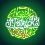 Señal de neón que brilla intensamente del día del St Patricks ilustración del vector