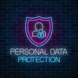 Señal de neón que brilla intensamente de la protección de datos personal Símbolo cibernético de la seguridad de Internet con el e foto de archivo