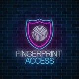Señal de neón que brilla intensamente segura del dispositivo Símbolo cibernético de la seguridad con el escudo y el dispositivo m fotos de archivo
