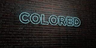 - Señal de neón realista en fondo de la pared de ladrillo - 3D COLOREADO rindió imagen común libre de los derechos Fotografía de archivo libre de regalías
