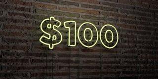 $100 - señal de neón realista en fondo de la pared de ladrillo - 3D rindieron imagen común libre de los derechos Fotos de archivo