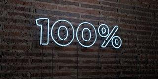 100% - señal de neón realista en fondo de la pared de ladrillo - 3D rindieron imagen común libre de los derechos Fotografía de archivo
