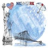 Señal de Nueva York Chapoteo de la acuarela, rienda, paraguas Foto de archivo