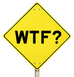 Señal de peligro amarilla - WTF - aislada Foto de archivo libre de regalías
