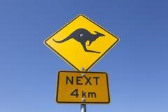 Señal de peligro australiana del canguro Foto de archivo libre de regalías