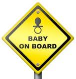 Señal de peligro cuidadosa del mecanismo impulsor del bebé a bordo Foto de archivo libre de regalías