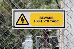 Señal de peligro de alto voltaje Imagen de archivo