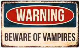 Señal de peligro de Halloween Guárdese de vampiros Vector la ilustración, EPS10