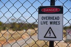Señal de peligro de la electricidad Imágenes de archivo libres de regalías