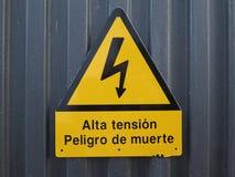 Señal de peligro de la electricidad Imagenes de archivo