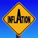 Señal de peligro de la inflación Foto de archivo libre de regalías