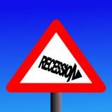 Señal de peligro de la recesión Fotografía de archivo libre de regalías