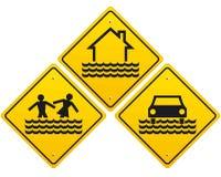 Señal de peligro de tres inundaciones ilustración del vector