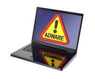Señal de peligro del adware en la pantalla del ordenador portátil Imagen de archivo libre de regalías
