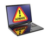 Señal de peligro del adware en la pantalla del ordenador portátil Fotografía de archivo libre de regalías