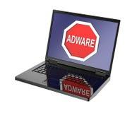 Señal de peligro del adware en la pantalla del ordenador portátil Fotos de archivo