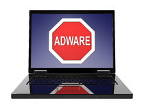 Señal de peligro del adware en la pantalla del ordenador portátil Fotos de archivo libres de regalías
