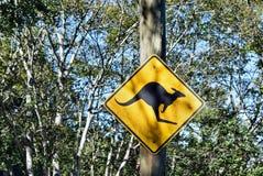 Señal de peligro del canguro Fotografía de archivo libre de regalías