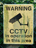 Señal de peligro del CCTV Imagen de archivo libre de regalías