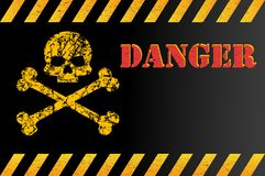 Señal de peligro del peligro con el cráneo, con el espacio para la explicación del texto Efecto, grunge, llevado, rasguñado Ilust ilustración del vector