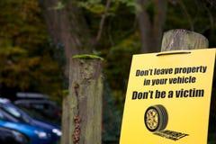 Señal de peligro del crimen del vehículo Fotos de archivo