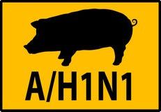 Señal de peligro del peligro de la gripe de los cerdos H1N1 Fotos de archivo