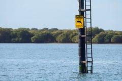 Señal de peligro del santuario del delfín, Adelaide portuaria imagenes de archivo