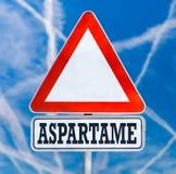 Señal de peligro del tráfico del aspartamo imágenes de archivo libres de regalías
