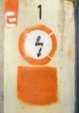 Señal de peligro eléctrica Imagen de archivo libre de regalías