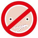 Señal de peligro de la boca de restricción de la persona cerrada encima de la cremallera unclosed Concepto de expresión restricta Foto de archivo libre de regalías