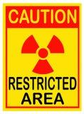 Señal de peligro de la radiación Área restricta Fotografía de archivo