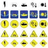Señal de peligro para la descarga eléctrica, explosivo, corrosión, frío, vector del calor Fotos de archivo libres de regalías