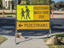 Señal de peligro peatonal Imagen de archivo libre de regalías