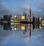 Señal de Shangai en el nuevo horizonte Fotos de archivo