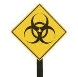 Señal de tráfico amarilla con símbolo del biohazard. Imagen de archivo