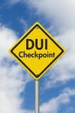 Señal de tráfico amarilla de la carretera del punto de control del DUI de la advertencia Foto de archivo libre de regalías