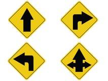 Señal de tráfico amarilla de la flecha Imagen de archivo libre de regalías