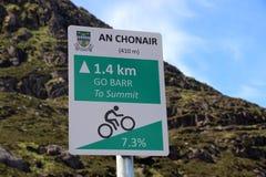 Señal de tráfico amonestadora en la entrada a Connor Pass, Irlanda Imágenes de archivo libres de regalías