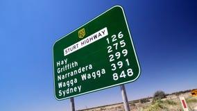 Señal de tráfico australiana de la carretera Fotografía de archivo